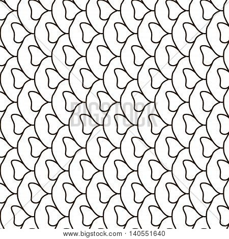 Vector fish skin. Abstract stylish background. Wavy geometric mosaic texture. Monochrome striped lines