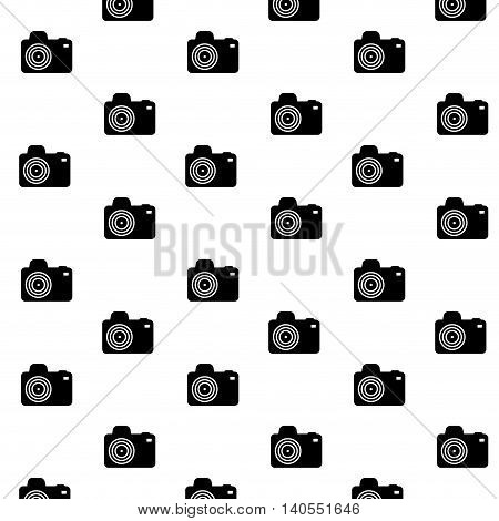 Pattern black camera photo. Seamless pattern photography and background with professional camera. Vector illustration