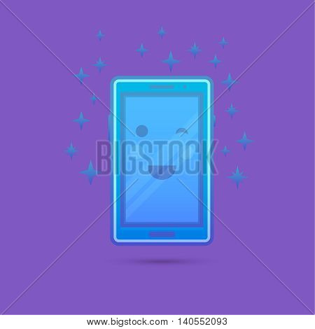 The smartphone icon with a smile and a flush on the screen which is cheerfully winking. A vectorial illustration in plane style.