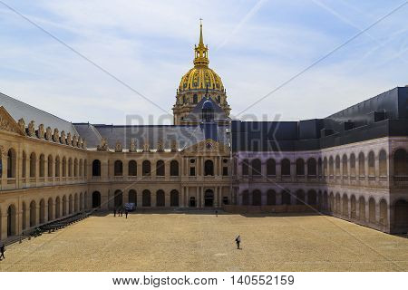 PARIS, FRANCE - MAY 12, 2015: This is the courtyard of Les Invalides which houses the Museum of the Army.