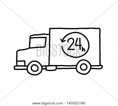 Delivery Van Doodle. A hand drawn vector doodle illustration of a 24-hour express delivery van.