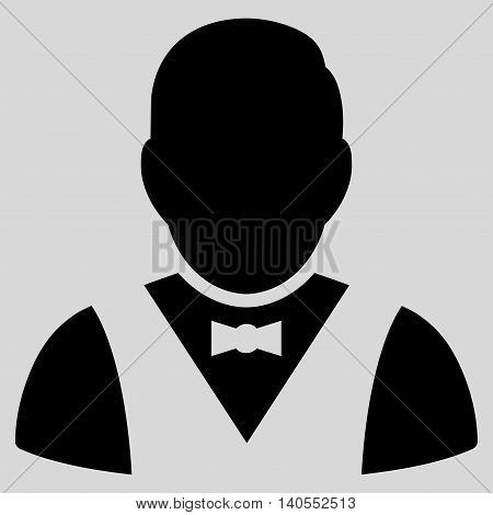 Waiter icon. Vector style is flat iconic symbol with rounded angles, black color, light gray background.