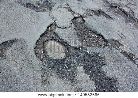 Asphalt way car danger damage road street
