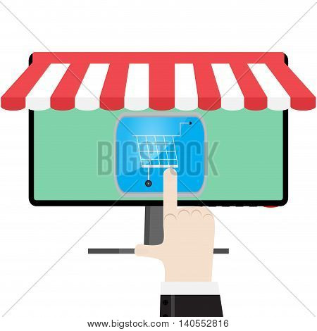 Online shop or store. Shopping ecommerce vector online store illustration shopping cart on display