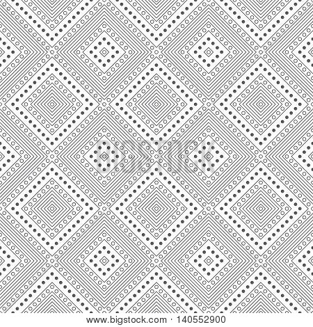 Classical seamless pattern. Modern stylish texture. Regularly repeating geometrical tiles with dotted diamonds linear rhombuses dots. Vector abstract background