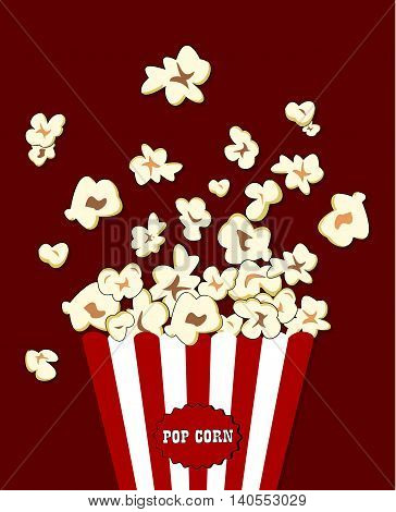 Popcorn exploding inside the red white striped packaging. Vector cinema food. Container with red overflowing maize