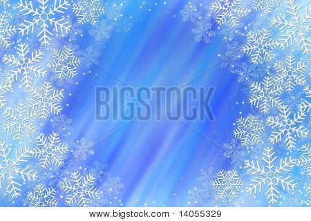 Frosty snowflakes over abstrack background