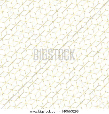 Seamless pattern. Modern stylish geometric texture with regularly repeating thin line hexagons cubes. Vector element of graphic design