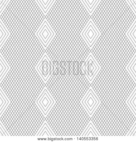 Seamless pattern. Classic abstract geometric background. Modern linear texture with thin lines. Regularly repeating geometrical tiled grid with rhombus diamond. Vector contemp design