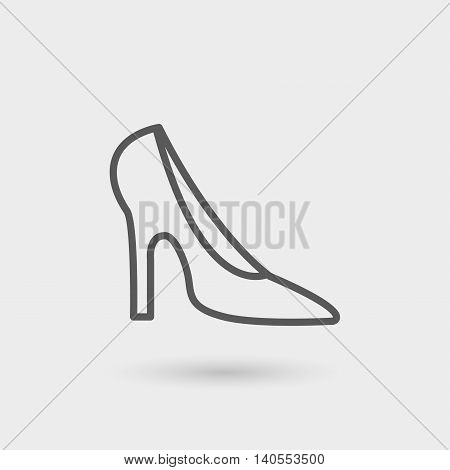 heeled shoe icon thin line black color with shadow