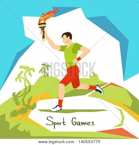 Runner With Fire Torch Sport Competition Start Flat Vector Illustration