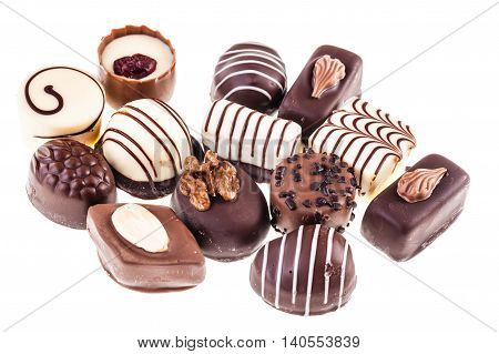 Group Of Pralines On White