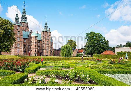 Copenhagen Denmark - July 20 2015: The Rosenborg castle seen from the King's garden