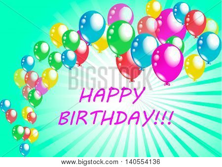 beatiful holiday happy birthday poster greeting card colorful baloons vector