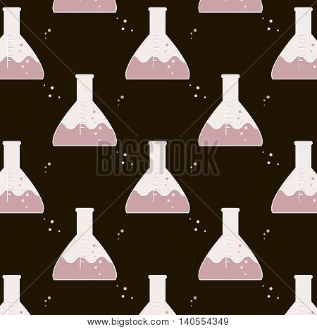 Vector test tube glassware. Chemistry pattern. Pharmacology background texture. Science print pink