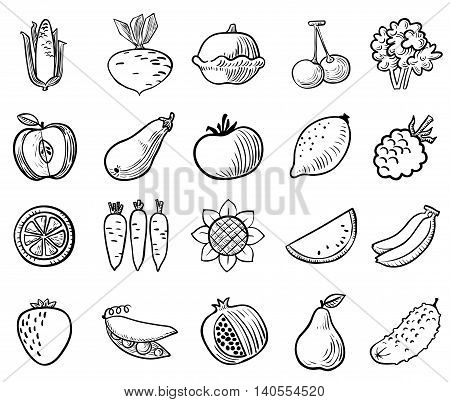 Black and white vegetables and fruits icons vector set in doodle simplicity style