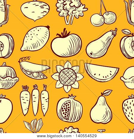 vegetables and fruits icons seamless pattern in doodle simplicity style, vector