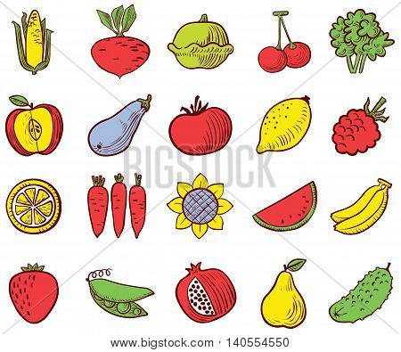 Colorful vegetables and fruits icons vector set in doodle simplicity style