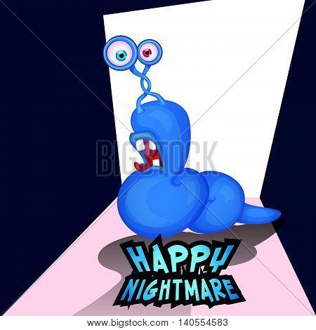 Happy nightmare Halloween cute monster warm pop-eyed. Cartoon fun vector illustration.