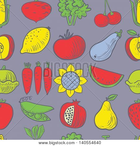 Cute vector fruits and vegetables seamless pattern background in doodle children's style