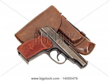 Russian Handgun And Holster On White Background