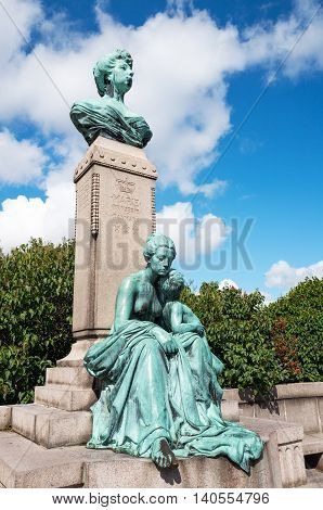 Copenhagen the bronze bust of princess Marie of Orleans in the Sangelinie belvedere.