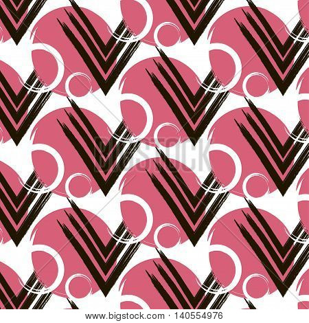 Vector repetition circle with line arrows pattern. Abstract pink design texture. Modern hipter print pink