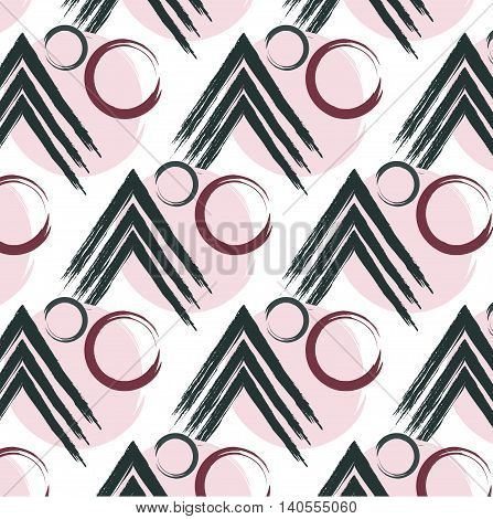 Vector repetition circle and lines arrow pattern. Texture in green and pink colors. Simple abstract colorful textile print green pink.