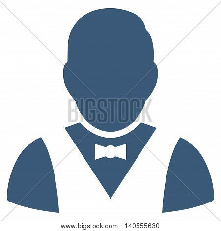Waiter icon. Vector style is flat iconic symbol with rounded angles, blue color, white background.