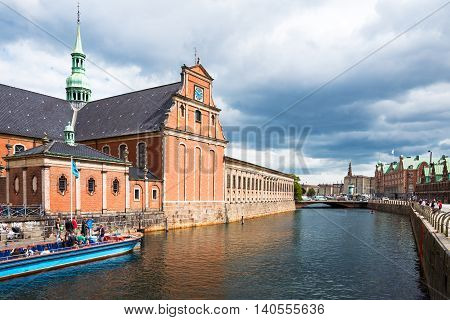 Copenhagen Denmark - July 20 2015: The apse of the Holmens church seen from the canal