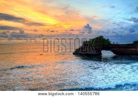 Tanah Lot Temple On Sea In Bali Island Indonesia..