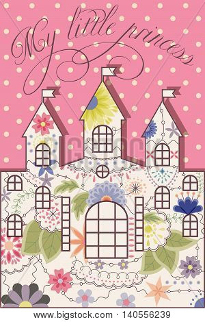 Vector my littless prince vintage background with castle