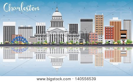 Charleston Skyline with Gray Buildings, Blue Sky and Reflections. West Virginia. Vector Illustration. Business Travel and Tourism Concept with Modern Buildings. Image for Presentation Banner Placard.