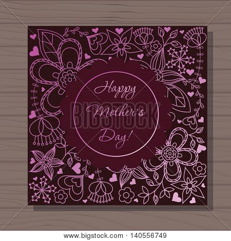 Vector happy mothers dat card on wooden background