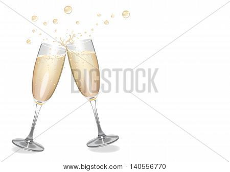 Champagne background image with clinking flutes, bubbles and sparkles.