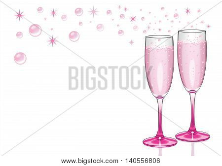Pink champagne background in pink flutes with bubbles and sparkles.