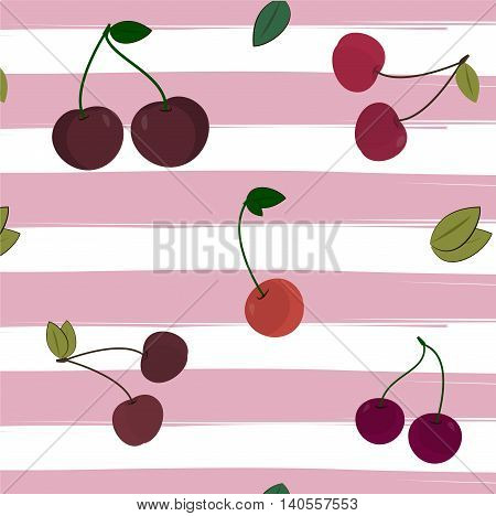 Print cherry pattern on striped background. Vector illustration. Berry textile summer color cover red pink