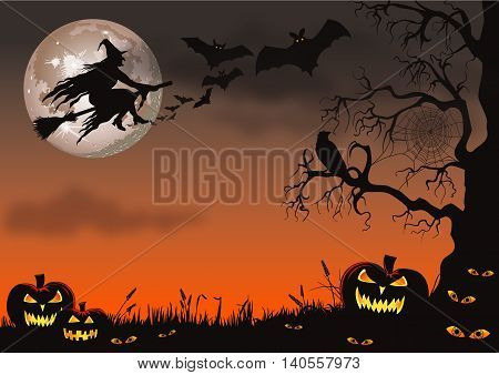Halloween scene with a witch flying on her broomstick, bats and pumpkins.