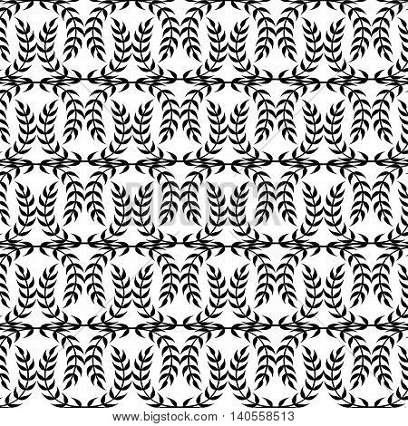 Black and white seamless texture Olympiad in the form of a Laurel wreath of the winner. Ornament patterns