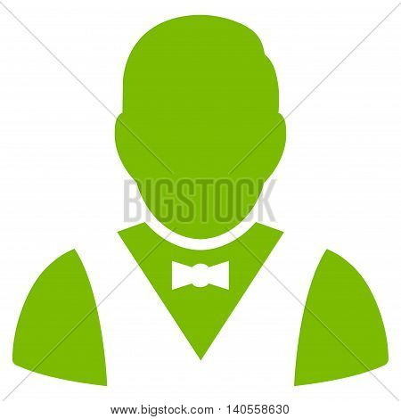 Waiter icon. Vector style is flat iconic symbol with rounded angles, eco green color, white background.