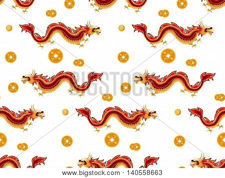 The pattern in the Chinese style with red dragons on a white background. Between dragons are located Chinese coins feng shui and golden beads.