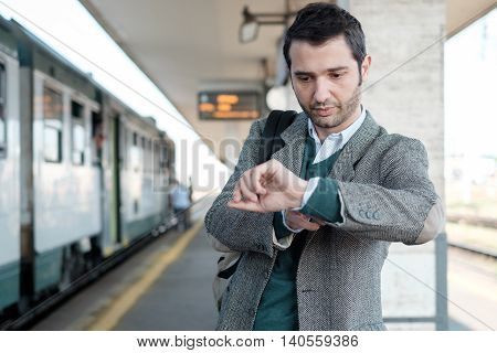 Standing Man Waiting For The Train