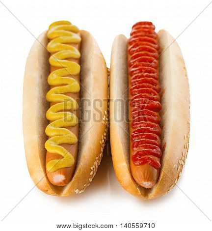 Classic Hot Dogs With Mustard And Ketchup Close-up On A White Background. Fast Food.