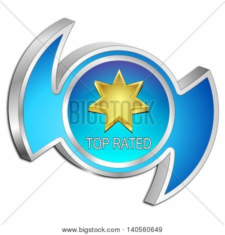decorative blue Top Rated Button - 3D illustration