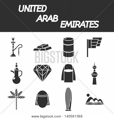 United arab emirates icons with symbols of state and cultural objects isolated vector illustration
