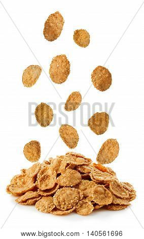 Falling Flakes, Breakfast Cereal Isolated On White Background. Healthy Breakfast.