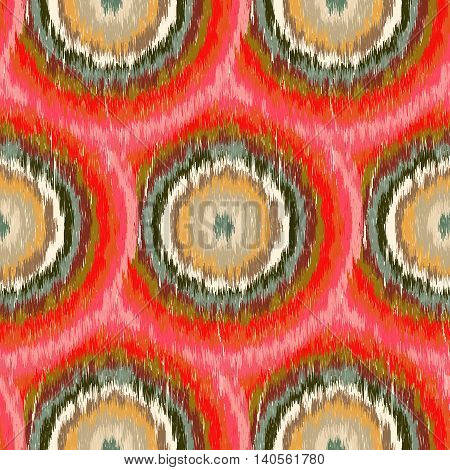 Seamless Ikat Pattern with red circles. Abstract background for textile design wallpaper surface textures wrapping paper.