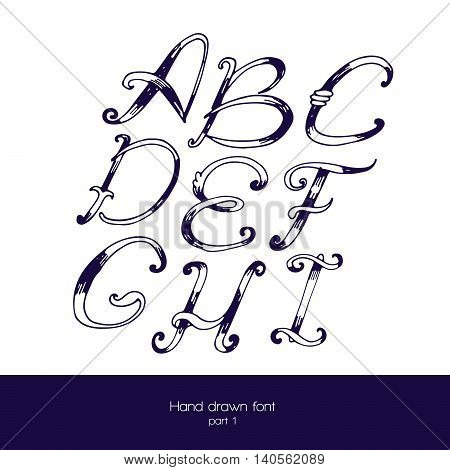 Handdrawn vector font in navy blue and white isolated on white background. Letter sequence from a to i. Hand drawn with brush painted abc letters good for lettering design.