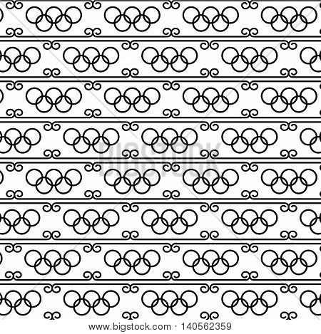 Black and white seamless texture Olympiad the Olympic rings. Ornament patterns