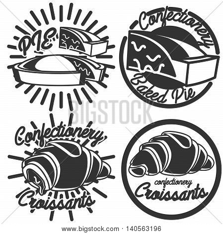 Collection of Vintage confectionery emblems, logo and logotype elements for sweet shop and candy shop